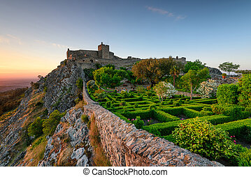 Panoramic view landscape of Marvao castle in Alentejo at sunset.