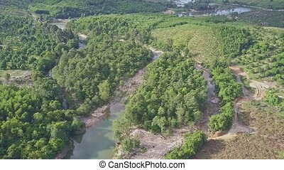 Panoramic View Long River against Pictorial Tropical Nature...