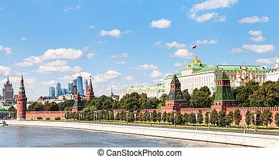 panoramic view Moskva River, Kremlin, Moscow City