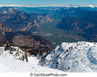 Panoramic View Mountain Snow landscape Alps Italy