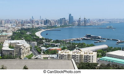Panoramic View of a Big City Megalopolis by the Sea at Summer Day. Baku, Azerbaijan. TimeLapse