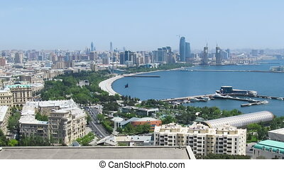 Panoramic View of a Big City Megalopolis by the Sea at Summer Day. Time Lapse