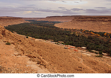 Panoramic view of a fertile valley and oasis in Saraha ...