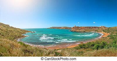 Panoramic view of a Ghajn Tuffieha Bay beach on Tuffieha region, Malta.