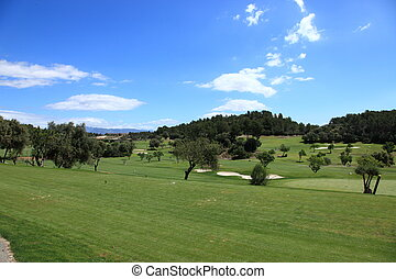Panoramic view of a golf course