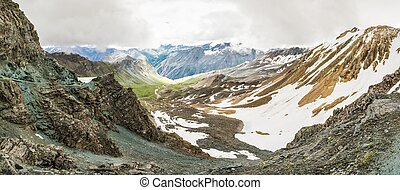 Panoramic view of a mountain valley from a ridge