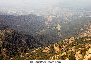 Panoramic view of a very scenic valley from the mountain peak