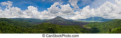 Panoramic view of a volcano mountain