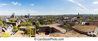 panoramic view of aachen city at summer