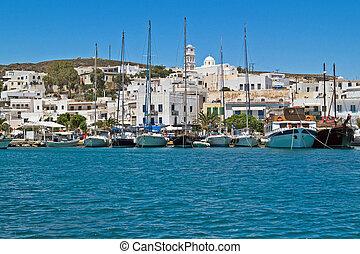 Panoramic view of Adamas village on Milos island, Greece