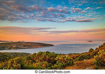 Panoramic view of Adriatic coast near The Primosten town at the