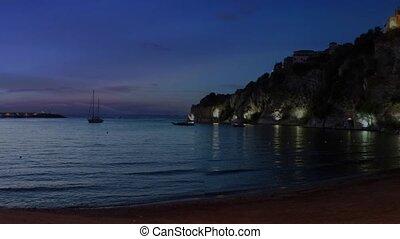 Panoramic view of Agropoli at night with the sea in the background. Cilento, Campania, southern Italy. Cinemagraph