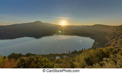 Panoramic view of Albano Lake coast at sunrise timelapse,...