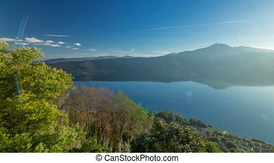 Panoramic view of Albano Lake coast at sunrise timelapse,...