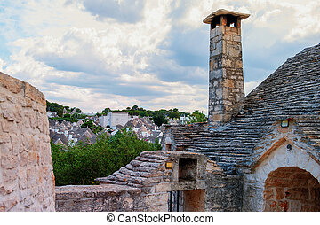 Panoramic view of Alberobello. Puglia Italy on a Sunny day