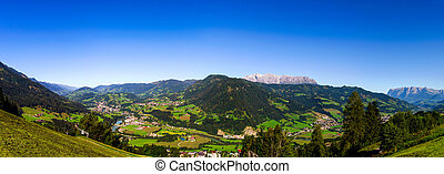 Panoramic view of alpine landscape, summer