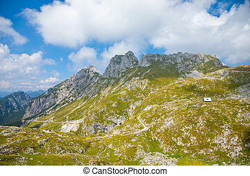 Panoramic view of Alps from Mangart saddle, Slovenia -...