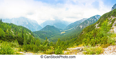 Panoramic view of Alps from road to Mangart saddle, Slovenia...