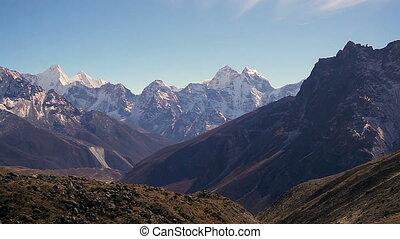 Panoramic view of Ama Dablam (6,170m) and Khumbu Valley.