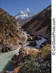 Panoramic view of Ama Dablam peak a