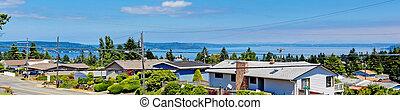 Panoramic view of american houses and bay. Tacoma, Washington st