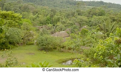 Panoramic View Of An Indigenous Community In The Amazon ...