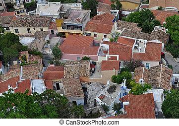 panoramic view of anafiotika neighborhood - Panoramic view...