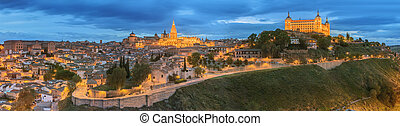 Panoramic view of ancient city and Alcazar on a hill over ...
