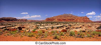 Panoramic view of the desert landscape in Arizona and Utah