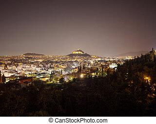 Panoramic view of Athens city at night