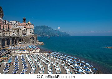 Panoramic view of Atrani, the Amalfi Coast, Italy