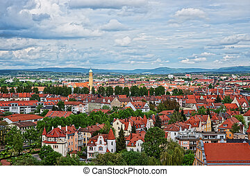 Panoramic view of Bamberg city center Upper Franconia Germany