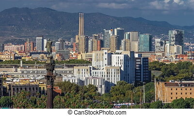 Panoramic view of Barcelona city from the mountain Montjuic timelapse.