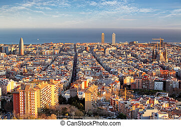 Panoramic view of Barcelonain summer day in Spain