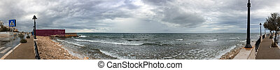 Panoramic view of Bari coastline on a rainy day, Italy