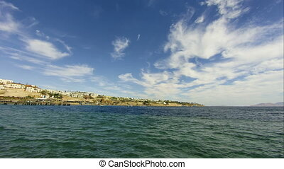 Panoramic view of Beach and Red Sea Coast in Egypt Resort....