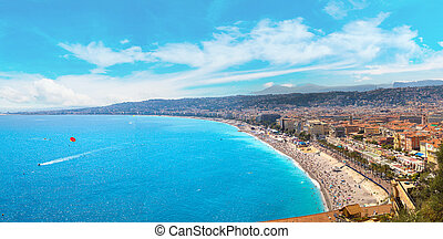 Panoramic view of beach in Nice