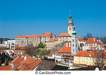 Cesky Krumlov - Panoramic view of beautiful Czech city Cesky...