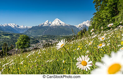 Panoramic view of beautiful landscape in the Bavarian Alps...