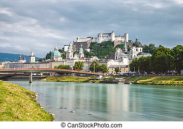 Panoramic view of beautiful Salzburg in Austria - Panoramic...