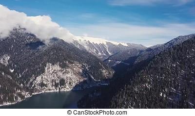 Panoramic view of beautiful white winter wonderland scenery...