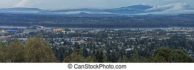 Panoramic View of Oregon and Washington States Divided by Columbia River at Evening Blue Hour