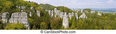 Panoramic view of Bohemian Paradise. (Cesky raj near the Turnov)