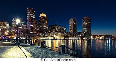 Panoramic view of Boston skyline by night - Massachusetts - USA