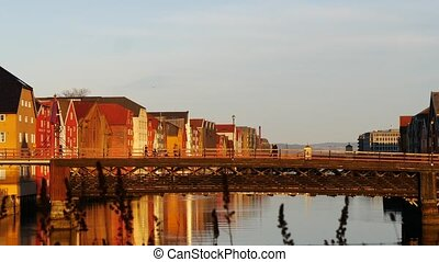 Panoramic view of bridge to famous wooden colored houses in...