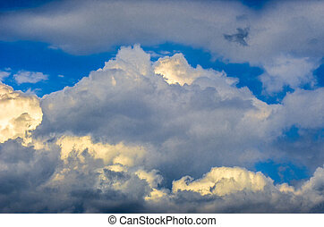 Panoramic view of bright picturesque white clouds on blue sky background