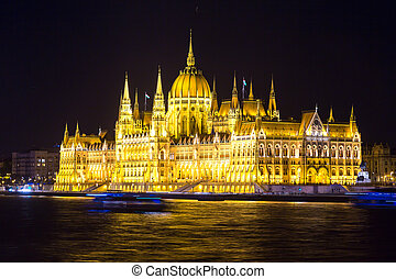 Panoramic view of Budapest at night