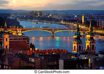 Budapest in evening illumination