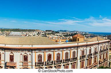 Panoramic view of Cagliari on a clear day