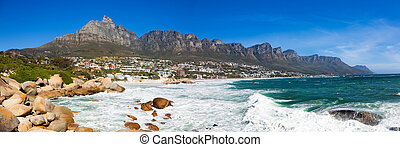 Panoramic view of Camps Bay Beach and Table Mountain in Cape Town South Africa